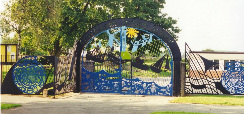 School gates in Ulverston, Cumbria, designed by Jill Randall, fabricated and installed by Luke Lister Blacksmiths