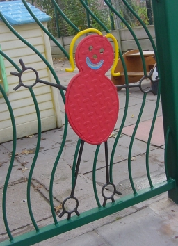 Example of one of the crafted metal shapes securely welded into the gates, as designed by the children